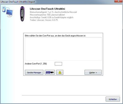 Datenübernahme vom Lifescan OneTouch UltraMini ins Diabetes-Tagebuch