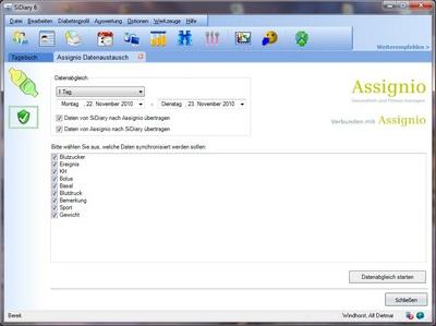 SiDiary-AddIn für die Datenübermittlung an Assignio